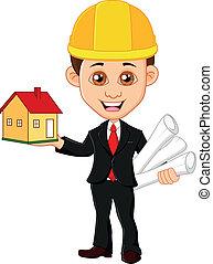 woning, mannen, architect, houdt
