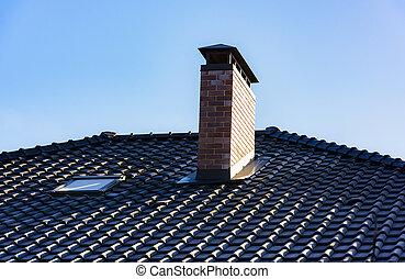 woning, met, een, gable dak, venster