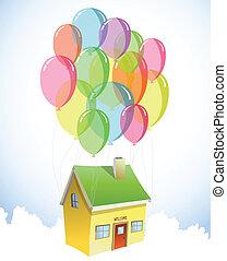 woning, met, een, kavels, van, kleurrijke, balloons., vector