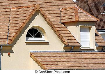 woning, met, nieuw, dak