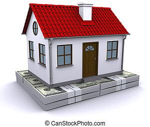 woning, met, rood, dak, op, een, bundel, van, dollars
