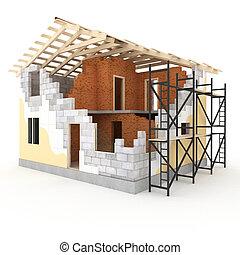 woning, model, architectuur