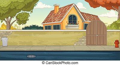 woning, neighborhood., kleurrijke, voorstad