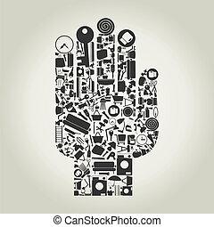 woning, onderwerpen, hand