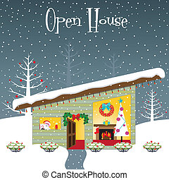 woning, open, kerstmis