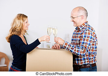 woning, paar, verhuizen, nieuw, vieren