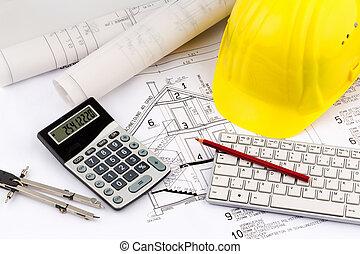 woning, plan, van, een, de arbeider van de bouw, met, helm