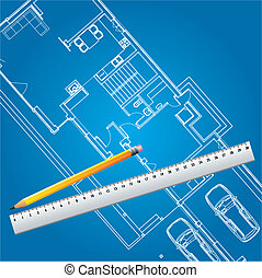 woning, plan, vector, bouwschets
