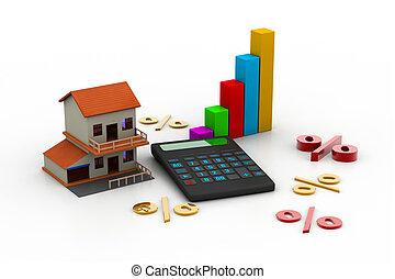 woning, rekenmachine, verkoop
