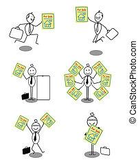 woning, set, verkoop, zakenman