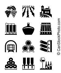 woning, set, wijntje, pictogram