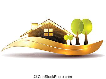 woning, symbool, en, tuin