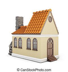 woning, tegels, witte achtergrond, dak