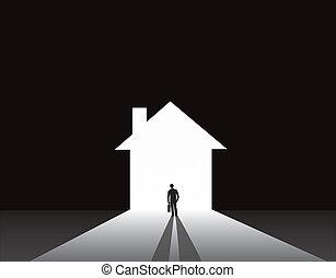 woning, thuis, deur, zakenman