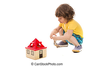 woning, toddler, opening, speelbal, jongen