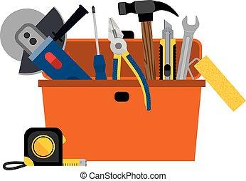 woning, toolbox, doe het zelf, herstelling