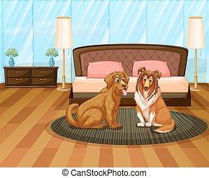 woning, twee, honden