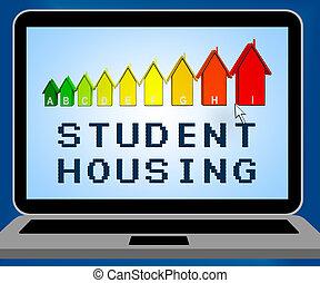 woning, universiteit, illustratie, student, het vertegenwoordigen, huisvesting, 3d
