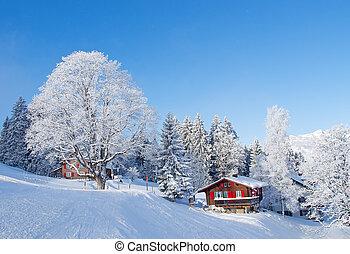 woning, vakantie, winter