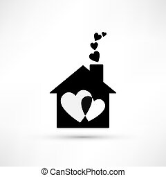 woning, van, liefde, pictogram