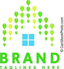 woning, vector, groene, logo