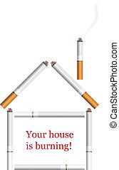 woning, vector, sigaret