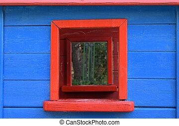 woning, venster, speelbal, kleurrijke