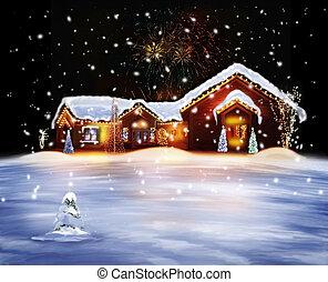 woning, verfraaide, kerstmis