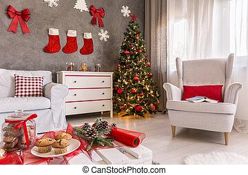 woning, verfraaide, voor, kerstmis