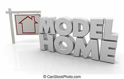 woning, verkoop, illustratie, meldingsbord, thuis, model, 3d