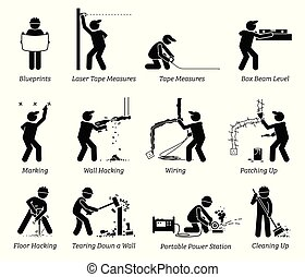 woning, vernieuwing, bouwsector, icons., verbetering