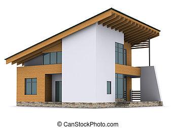 woning, vertolking, groene, roof., achtergrond, witte , 3d