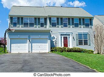 woning, vinyl, voorkant, enkele familie, md, thuis, siding