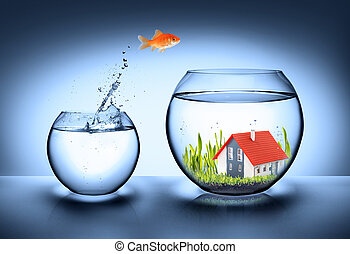 woning, visje, echte, vinden, -, landgoed