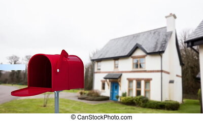 woning, voorkant, brievenbus
