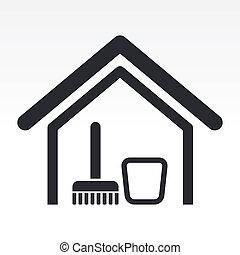 woning, vrijstaand, illustratie, enkel, vector, schoonmaken,...