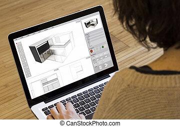 woning, vrouw, computer, model staan