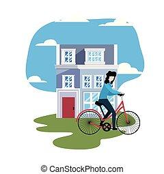 woning, vrouw, fiets