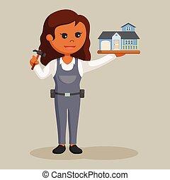 woning, vrouw, timmerman, miniatuur