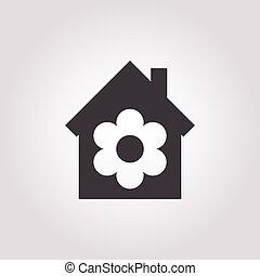 woning, witte achtergrond, pictogram