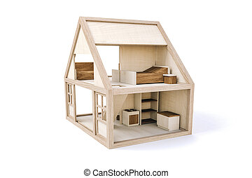 woning, witte , hout, achtergrond, 3d