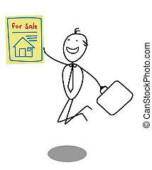 woning, zakenman, verkoop