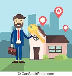 woning, zakenman, verkoop, klee, plaats