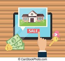 woning, zakenman, verkoop, tablet, hand
