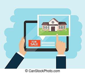 woning, zakenman, verkoop, tablet, handen