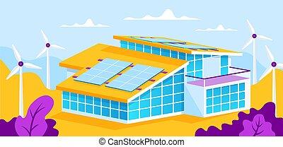 woning, zonnepaneel
