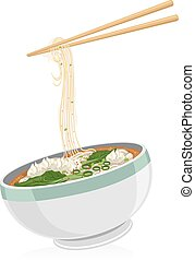 Wonton Noodles - Illustration of a Bowl of Wonton Noodles...