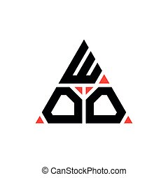 WOO triangle letter logo design with triangle shape. WOO triangle logo design monogram. WOO triangle vector logo template with red color. WOO triangular logo Simple, Elegant, and Luxurious Logo.