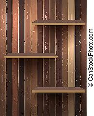 Wood  3d isolated empty shelf for exhibit. EPS 10