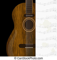 Wood acoustic guitar